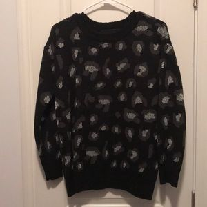 Kendall + Kylie Black Leopard Sweater